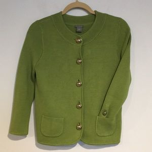 Ann Taylor Green Large button swing sweater